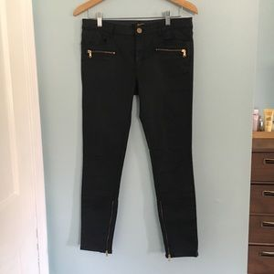 Zara coated skinny jeans with ankle zippers